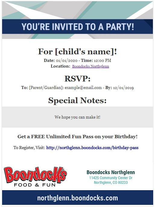 Boondocks - Email Birthday Invite